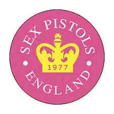 SEX PISTOLS 1-inch BADGE Button Pin 1977 Crown Pink Logo OFFICIAL MERCHANDISE