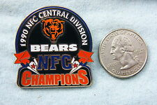 WILLABEE & WARD PIN CHICAGO BEARS NFC C. DIVISION CHAMPIONS 1990 WITH FACT CARD