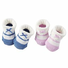New Carter's 2 Pack Booties Socks size Newborn Purple & Blue Mary Jane Bow