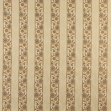 A0013E Beige Gold Brown Ivory Striped Floral Brocade Upholstery Fabric