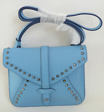 IIIBeCa by Joy Gryson Church Street Studded Cross Body Bag Sky Blue Leather NWT