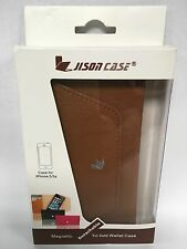 Jisoncase Magnetic Leather Wallet Case iPhone 5/5s JS-I5S-02C20 ✓NEW✓ BROWN