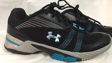 Under Armour Black Blue Silver Mens Size 7.5 Running Tennis Heat Gear Shoes