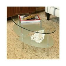 Glass Coffee Table Wave Oval Round Top Modern Design Small Living Room Furniture