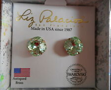 Liz Palacios peridot green Swarovski crystal cushion cut post earrings NIB