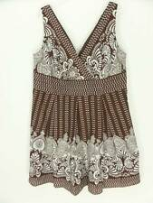 Cato Dress Sz 20W Brown & White Geometric Floral Sleeveless 50s Style 2X Sexy