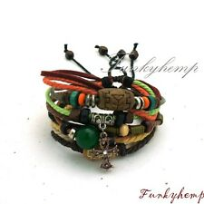 2 Hemp Leather Bracelets w Rhinestone Copper Ankh & Agate/Wood Beads W9-2