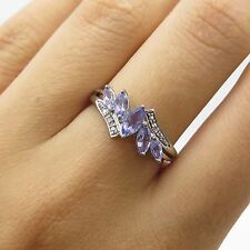 Sterling Silver Genuine Diamonds & Marquise Cut Tanzanite Women's Ring Size 7