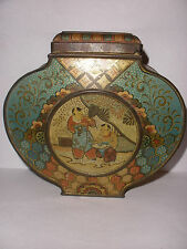 Rare Antique 19th Lg Barclay &Fry ltd makers London tin tea caddy Chinese scenes