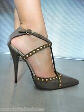 MORI MADE IN ITALY STUDS NEW HIGH HEELS PUMPS SCHUHE SHOES LEATHER BEIGE NUDE 38