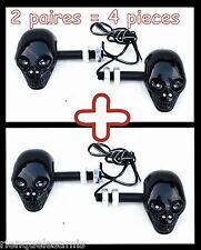 2 coppie di Lampeggiante testa morto Cranio NERO & Diodi moto custom quad trike