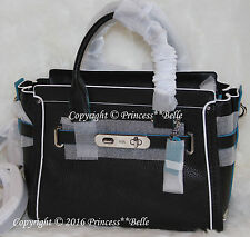 NWT! COACH Swagger 27 Satchel Leather Bag Purse Handbag Edgestain Tricolor Black