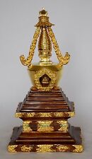 "9.5"" Stupa or Chaitya or Chhorten Partly Gold Gilded Copper Alloy Patan, Nepal"