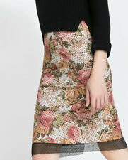 ZARA POLKA DOT FLORAL LACE TUBE SKIRT SIZE S SMALL
