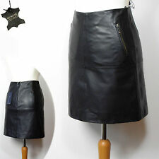 New M&S PETITE Luxury REAL LEATHER A-Line MINI SKIRT ~ Size 6