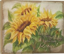 """Sunflowers REJOICE IN THE LORD ALWAYS Gallery Wrapped Canvas Print, 12"""" x 16"""""""