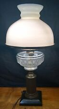 Antique Victorian Banquet Student Desk Oil Lamp Brass Spelter  White Glass Shade