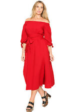 New Red chambray Off the Shoulder Belted Plus Size Midi Dress 16 18 20 22 24