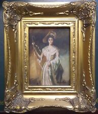 FRAMED OIL ON BOARD PAINTING by R.WILSON A LADY HOLDING A CROOK