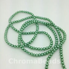 3mm Glass Faux Pearls strand - Soft Green (230+ beads) jewellery making, craft