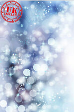 CHRISTMAS BLUE LIGHT BOKEH BACKDROP BACKGROUND VINYL PHOTO PROP 5X7FT 150x220CM