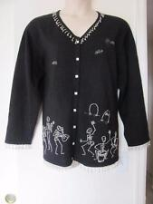 QUACKER FACTORY SCARY SCELETONS BEADED EMBROIDERED SWEATER CARDIGAN SIZE 2X IMP