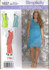 One Shoulder Cascade Overlay Prom Cocktail Dress Gown Sewing Pattern Sz 8-16