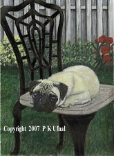 Dog Art,Pencil,Paint,Ink,Pug Print #2,By P K Ufnal