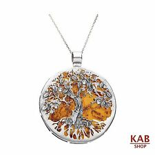 "COGNAC BALTIC AMBER STERLING SILVER 925 PENDANT BEAUTY + 18""chain. KAB-274.4"
