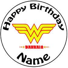 """Cumpleaños Personalizado Mujer Maravilla Logo Redondo 8"""" fácil Precortada Glaseado Cake Topper"""