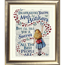 DICTIONARY PAGE ART PRINT VINTAGE ANTIQUE BOOK Alice in Wonderland BONKERS Quote