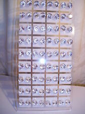 Joblot of 36 Pairs Clear round 8mm Crystal stud Earrings - New wholesale
