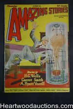 Amazing Stories Nov 1927 Frank Paul cover, H.G. Wells, A Hyatt Verrill,
