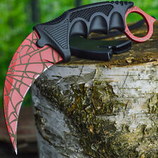 TACTICAL COMBAT KARAMBIT NECK KNIFE Survival Hunting BOWIE Fixed Blade RED WEB