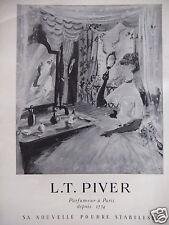 PUBLICITÉ 1952 POUDRE STABILISÉE L.T. PIVER PARFUMEUR PARIS - ADVERTISING