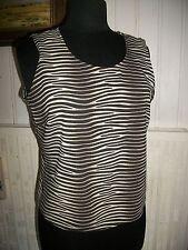 Tee shirt  débardeur polyester marron rayé noir UN JOUR AILLEURS 44 zip de coté