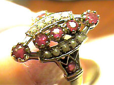 SILVER Colombian NATURAL ruby ring 8 vintage pearl STERLING 925 old filigree sma