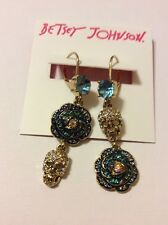 $55 Betsey Johnson Skull & Roses Pave Mismatched Drop Earrings BT 17