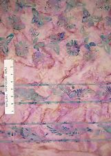 Batik Textiles Fabric - Mauve Butterfly Double Border - Quilt Cotton YARD