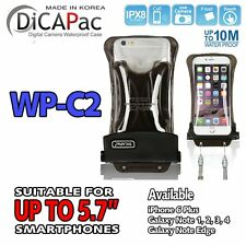 "DiCAPac WP-C2 Floating IPX8 Waterproof Mobile Case For iPhone Samsung 5.7"" BK"