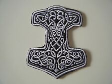 THOR'S HAMMER PATCH Embroidered Iron On Badge VIKING PAGAN NORSE GOD ODIN NEW