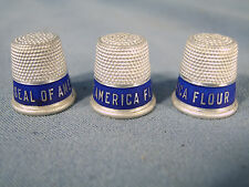 Vintage set of 3 Seal of America Flour Advertisng Silver color Thimbles c1900s