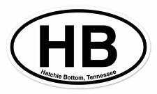 "HB Hatchie Bottom Tennessee Oval car window bumper sticker decal 5"" x 3"""