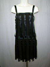 CHANEL O3A Black Label Silk Chiffon Satin Ribbon Snaps Dress Runway FR 40 $3935