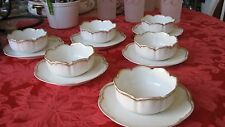 6 Haviland Limoges French White/Gold Ramekins w/matching Saucers