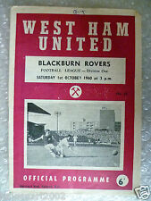 1960 WEST HAM UNITED v BLACKBURN ROVER, 1st Oct (League Division One)