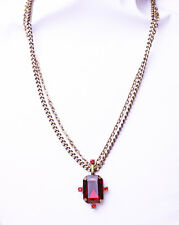 STRIKING ADJUSTABLE DOUBLE CHAIN METAL NECKLACE RED STONE RETRO STYLE (ZX20)