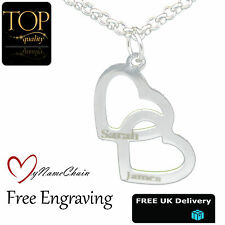 Love Double Heart Personalised Necklace Any Names Engraved Silver Jewellery Gift