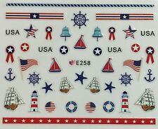 Nail Art 3D Decal Stickers Sailboat Lighthouse USA 4th of July American E258