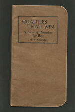 "1921 Booklet - ""Qualities That Win"" Discussions for Boys by H. W. Gibson"